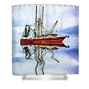 Louisiana Shrimp Boat 4 - Impasto Shower Curtain