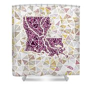 Louisiana State Map Geometric Abstract Pattern  Shower Curtain