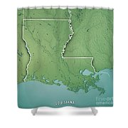 Louisiana State Usa 3d Render Topographic Map Border Shower Curtain