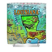 Louisiana Usa Cartoon Map Shower Curtain