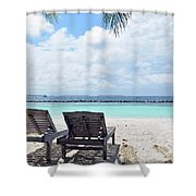 Lounge Chairs At The Beach In Maldives Shower Curtain