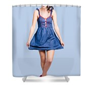 Lovable Eighties Female Pin-up In Denim Dress Shower Curtain