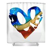Love 6 - Heart Hearts Valentine's Day Shower Curtain