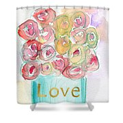 Love And Roses- Art By Linda Woods Shower Curtain