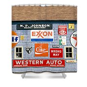 Love Barn With Road Signs, Orland, Maine Shower Curtain