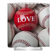 Love Baseball Shower Curtain