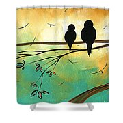 Love Birds By Madart Shower Curtain by Megan Duncanson