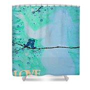 Love Birds In Blue Maternity Shower Curtain