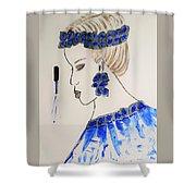 Love Blue Shower Curtain