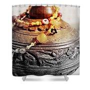 Love Bracelet On Wooden Vase Shower Curtain