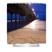 Love Heart In The Sand At Boscombe Pier Shower Curtain