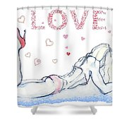 Love Hearts - Valentine's Day Shower Curtain