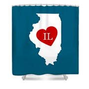 Love Illinois White Shower Curtain