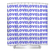 Love In Blue Neon Shower Curtain