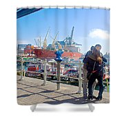 Love In The Port Of Valpaparaiso-chile Shower Curtain