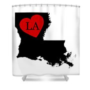 Love Louisiana Black Shower Curtain