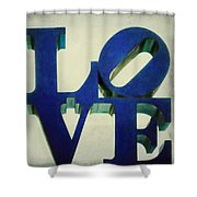 Love Makes Me Blue Shower Curtain