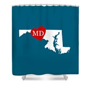 Love Maryland White Shower Curtain