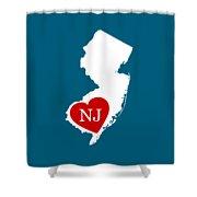 Love New Jersey White Shower Curtain