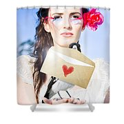 Love Note Delivery From The Heart Shower Curtain
