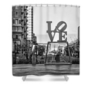Love On The Parkway In Black And White Shower Curtain
