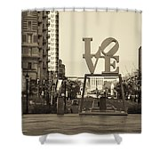Love On The Parkway In Sepia Shower Curtain