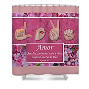 Love One Another Spanish Shower Curtain