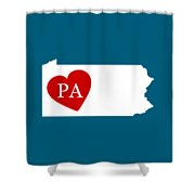 Love Pennsylvania White Shower Curtain