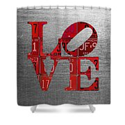 Love Sign Philadelphia Recycled Red Vintage License Plates On Aluminum Sheet Shower Curtain