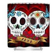 Love Skulls Shower Curtain by Tammy Wetzel