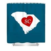 Love South Carolina White Shower Curtain