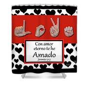 Love Spanish Bw Graphic Shower Curtain