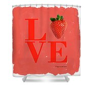 Love Strawberry Shower Curtain