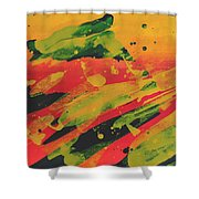 Love Those Diagonals - Yellow 1 Shower Curtain