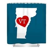 Love Vermont White Shower Curtain