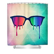 Love Wins Rainbow - Spectrum Pride Hipster Nerd Glasses Shower Curtain