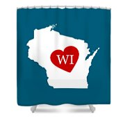 Love Wisconsin White Shower Curtain