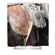 Loved Leather Tack Shower Curtain