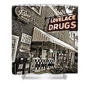 Lovelace Drugs Shower Curtain by Scott Pellegrin