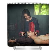 Lovely Happy Couple Have Fun.romantic Photo.hugs Together Shower Curtain