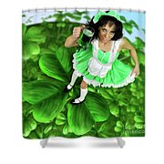 Lovely Irish Girl With A Glass Of Green Beer Shower Curtain