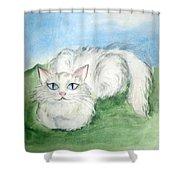 Lovely Kitty. White Cat Kusyaka Shower Curtain