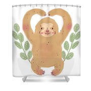 Lovely Sloth Illustration Shower Curtain