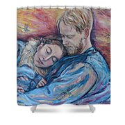 Lovers And Dragonflies Shower Curtain