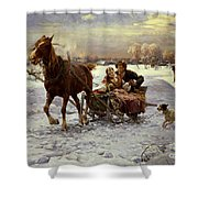 Lovers In A Sleigh Shower Curtain