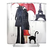 lovers in Paris Shower Curtain