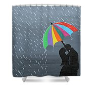 Lovers In The Rain Shower Curtain