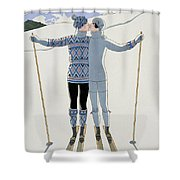 Lovers In The Snow Shower Curtain
