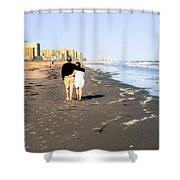 Lovers On The Beach Shower Curtain by Tom Zukauskas