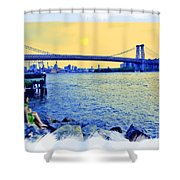 Lovers On The Rocks Shower Curtain by Madeline Ellis